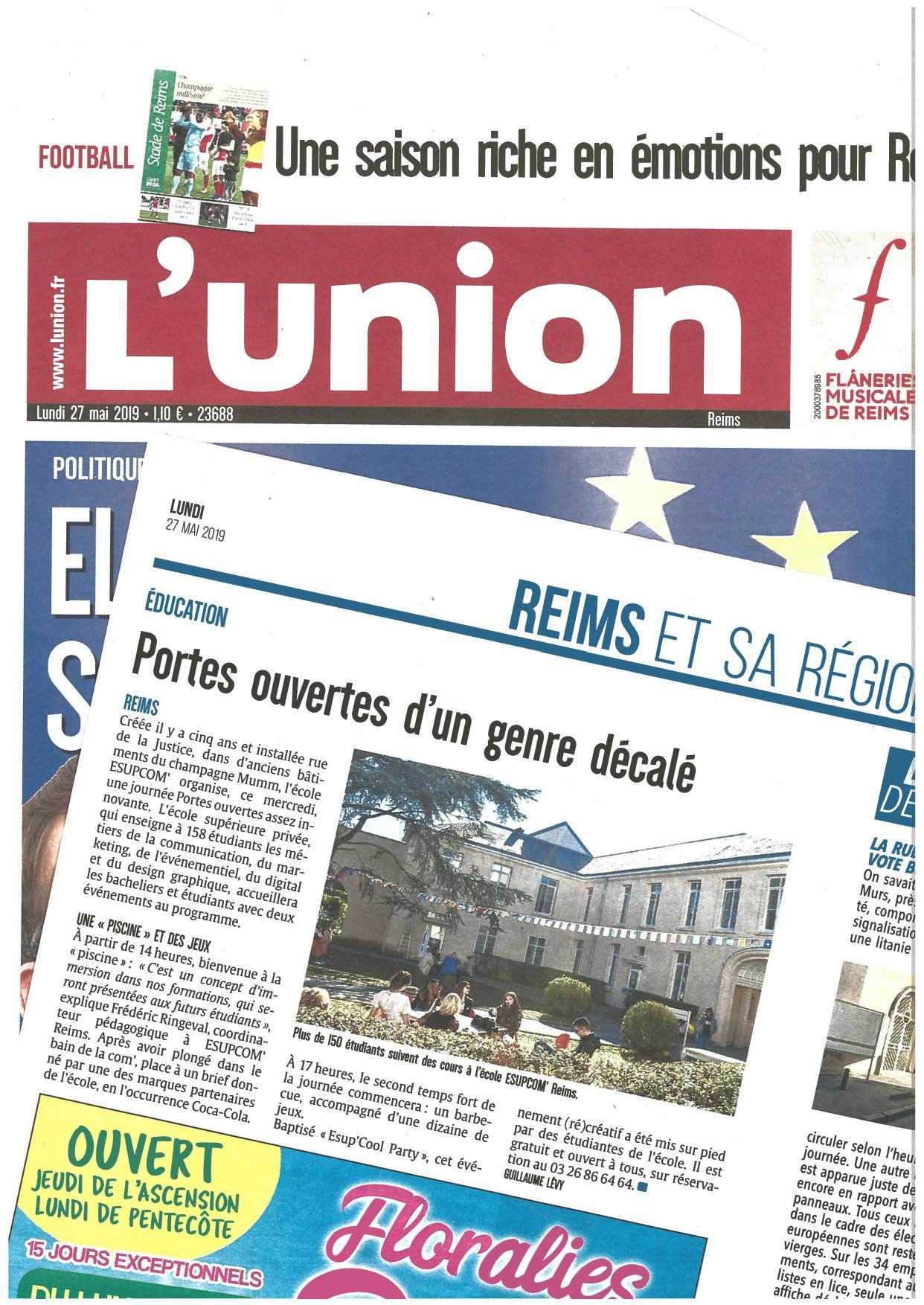 L'UNION 27 mai 2019 - Portes ouvertes d'un genre décalé dans une école supérieure de Reims